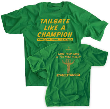 TAILGATE LIKE A CHAMPION TOUCHDOWN JESUS GREEN SHIRT -  - SPORTSCRACK
