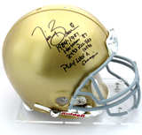 Tim Brown Signed Notre Dame Fighting Irish Riddell Authentic NCAA Helmet With Career Statistics Inscription