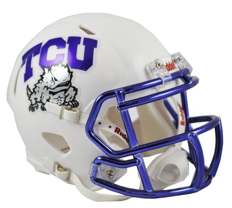 TCU White Chrome Riddell Speed Mini Helmet