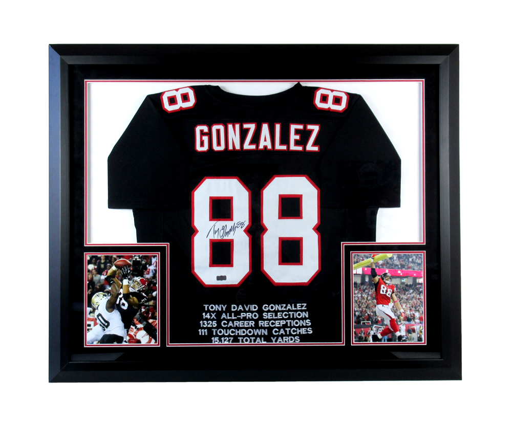 new concept d3054 25963 Tony Gonzalez Signed Atlanta Falcons Framed Black Embroidered Stat Custom  Jersey