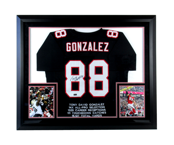Tony Gonzalez Signed Atlanta Falcons Framed Black Embroidered Stat Custom Jersey