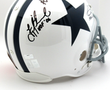 Troy Aikman, Emmitt Smith & Michael Irvin Autographed/Signed Dallas Cowboys Riddell Throwback Authentic NFL Helmet With HOF Inscriptions