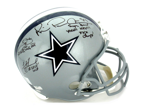 Troy Aikman, Michael Irvin & Emmitt Smith Signed Dallas Cowboys Riddell Full Size NFL Helmet With Super Bowl Inscriptions