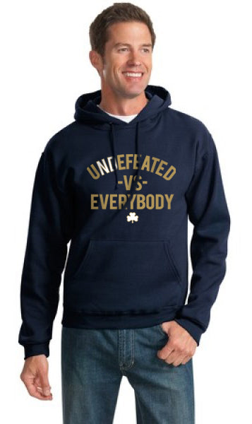 uNDefeated vs everybody notre dame hoodie sweat shirt
