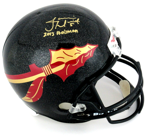 "Jameis Winston Signed Florida State Seminoles Riddell Black Full Size NCAA Helmet With ""2013 Heisman"" Inscription"