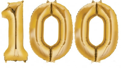 100 Gold Jumbo Balloon Numbers