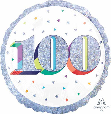 100th Birthday Rainbow Age Milestone 18 inch Foil Balloon