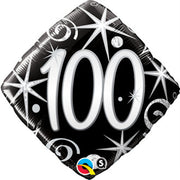100th Birthday Elegant Black Diamond Age Milestone 18 inch Foil Balloon