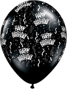 11 inch Birthday Around Black Balloons