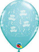 11 inch Birthday Around Caribbean Blue Balloons
