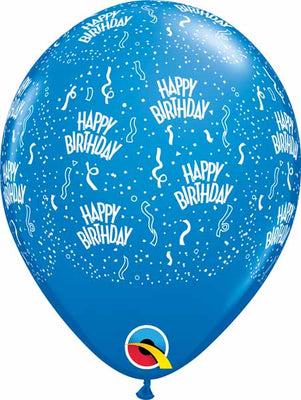 11 inch Birthday Around Dark Blue Balloons