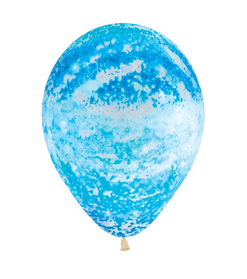11 inch Graffiti Blue Crystal Clear Balloons