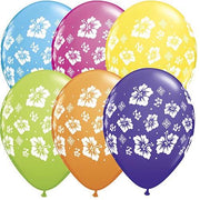 11 inch Hibiscus Flower Assortment Balloons