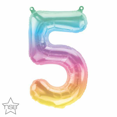16 inch Jelli Pastel Ombre Balloon Number 5