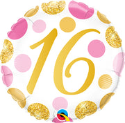 16th Birthday Pink Gold Dots Age Milestone 18 inch Balloon