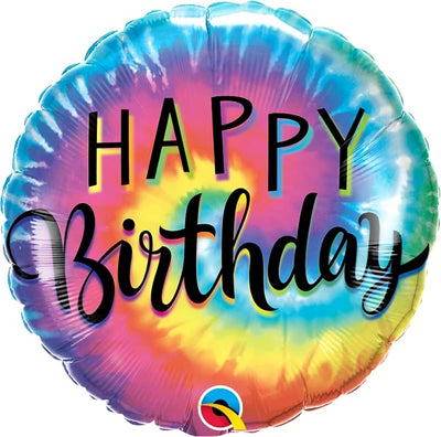 18 inch Tie Dye Happy Birthday Balloons