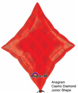 18 inch Red Diamond Shape Casino Foil Balloon