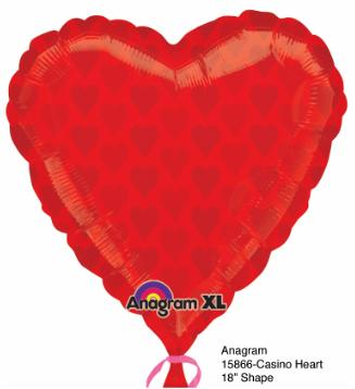 18 inch Red Heart Shape Foil Casino Balloon