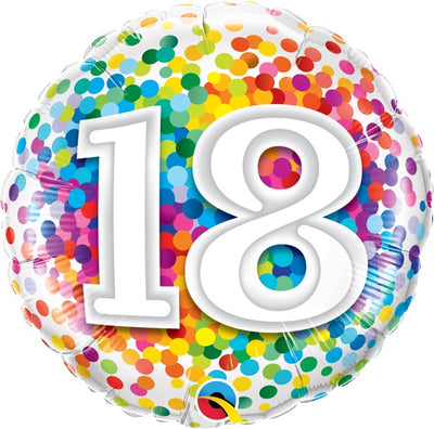 18th Birthday Rainbow Polka Dots 18 inch Foil Balloon
