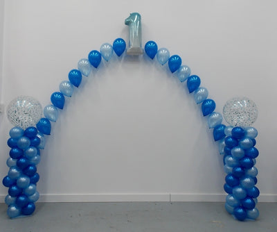 1st Birthday Confetti Balloon Columns and Pearl Arch
