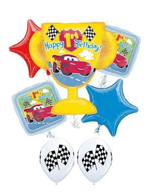 1st Birthday Disney Cars Trophy Balloon Bouquet
