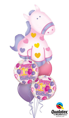 1st Birthday Soft Pony Balloon Bouquet