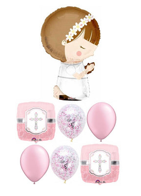 1st Communion Girl Pink Silver Confetti Balloon Bouquet