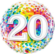 20th Birthday Rainbow Polka Dots 18 inch Foil Balloon