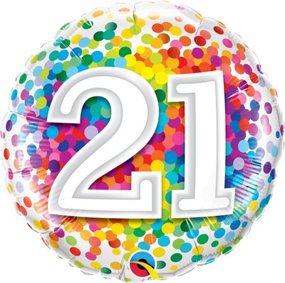 21st Birthday Rainbow Polka Dots 18 inch Foil Balloon