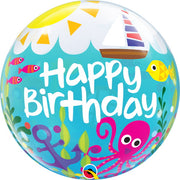 Sea Creatures 22 inch Maritime Happy Birthday Bubbles Balloons