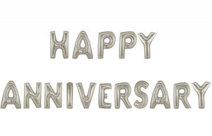 Silver HAPPY ANNIVERSARY Jumbo Balloon Letters (Includes Helium and Weights)
