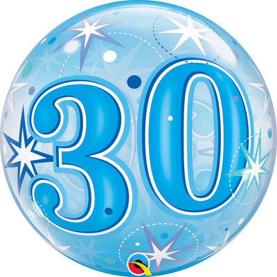 30th Birthday Milestone Age Blue Starburst Sparkle Bubbles Balloon
