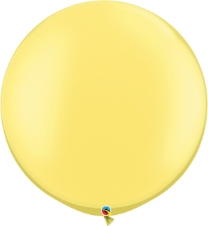 Qualatex 30 inch Round Pearl Lemon Chiffon Uninflated Latex Balloon