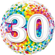 30th Birthday Rainbow Polka Dots 18 inch Foil Balloon