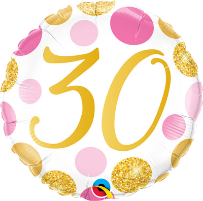30th Birthday Pink Gold Dots Age Milestone 18 inch Balloon