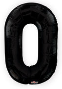 Black Jumbo Number 0 Balloon (Includes Helium and Weight)