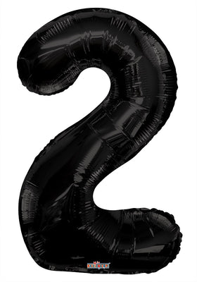Black Jumbo Balloon Number 2 (Includes Helium and Weight)