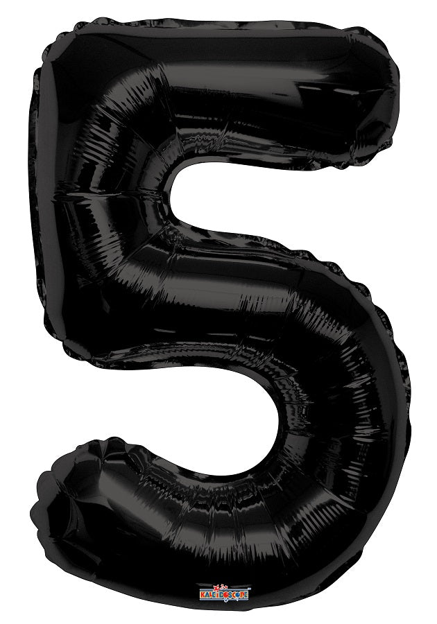 Black Jumbo Balloon Number 5 Includes Helium and Weight
