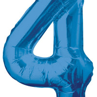 Jumbo Blue Number 4 Balloons with Helium and Weight