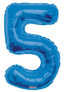 Blue Jumbo Balloon Number 5 with Helium and Weight