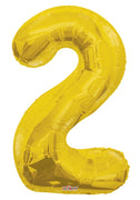 Gold Jumbo Balloon Number 2 includes Helium and Weight