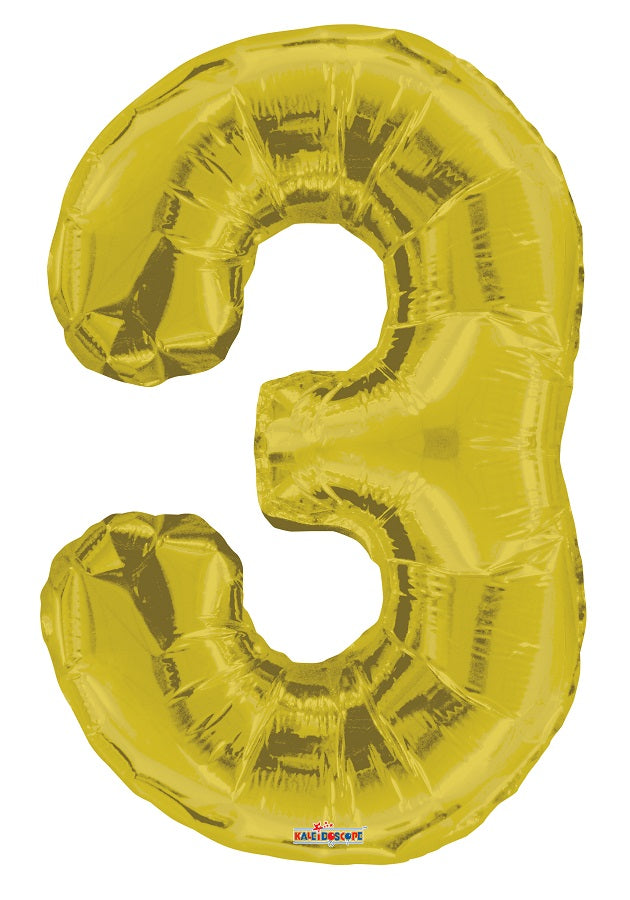 Gold Jumbo Balloon Number 3 (Includes Helium and Weight)