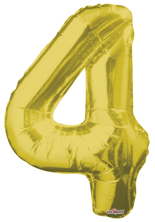 Gold Jumbo Balloon Number 4 (Includes Helium and Weight)