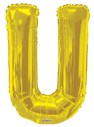 Gold Jumbo Balloon Letter U (Includes Helium and Weight)