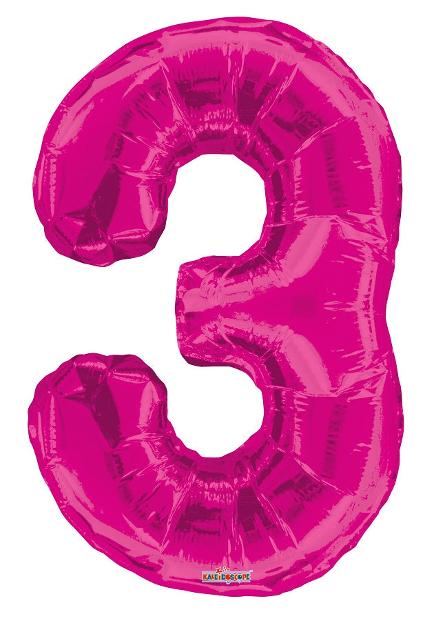 Pink Jumbo Balloon Number 3 (Includes Helium and Weight)