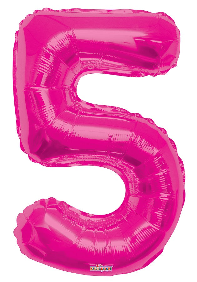 Pink Jumbo Balloon Number 5 (Includes Helium and Weight)