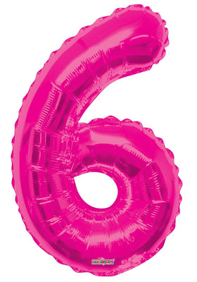 Pink Jumbo Balloon Number 6 Includes Helium and Weight