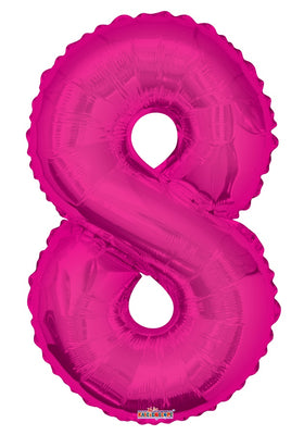 Pink Jumbo Balloon Number 8 Includes Helium and Weight