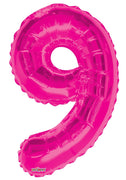 Pink Jumbo Balloon Number 9 Includes Helium and Weight
