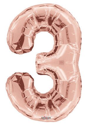 Rose Gold Jumbo Balloon Number 3 (Includes Helium and Weight)